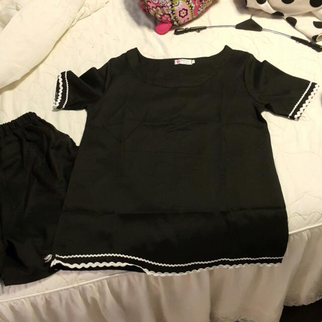 黑色花邊套裝