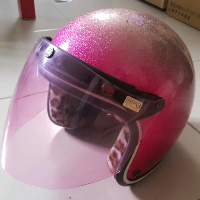 女孩最愛亮眼可愛漸層桃紅安全帽豹紋內裡粉色鏡面