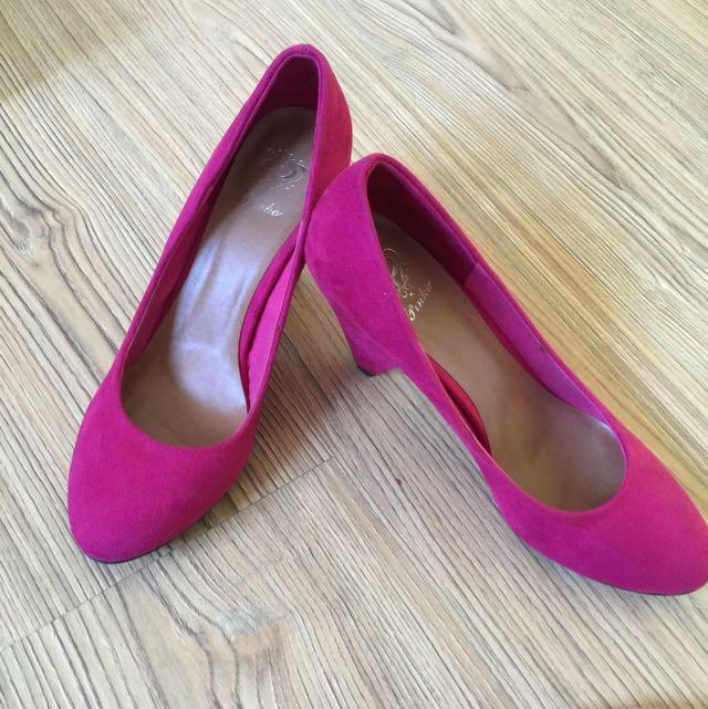 韓版桃紅麂皮高跟鞋