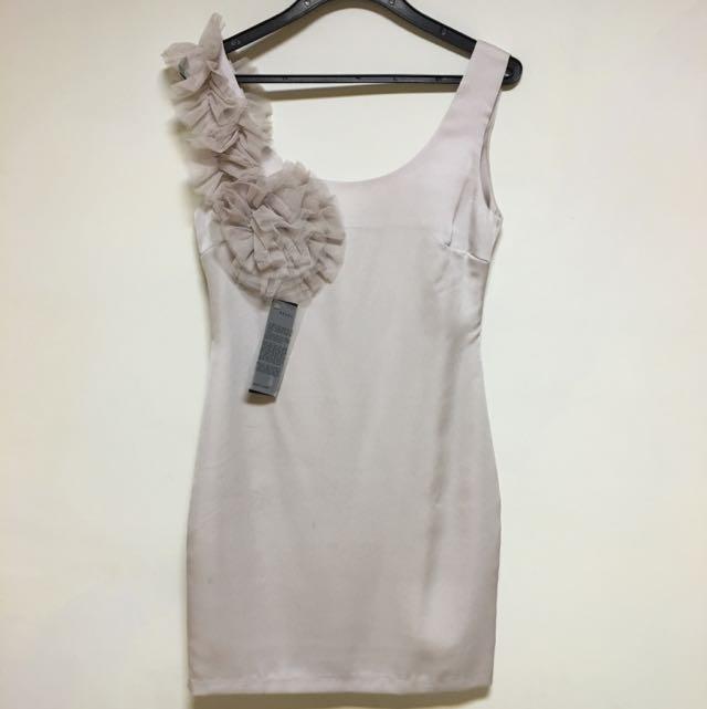 全新~正韓粉耦色無袖貼身小洋裝 #一百元洋裝