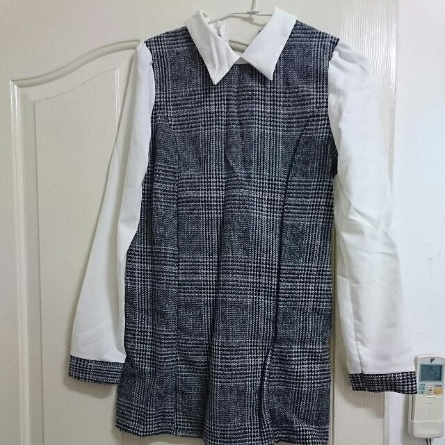 長袖格子洋裝