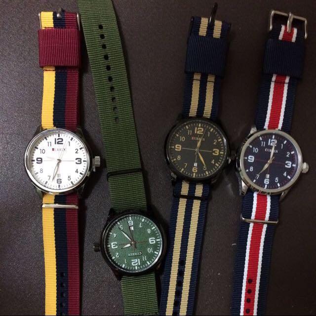 限時特價+免運!個性帆布海軍風中性腕錶