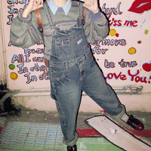 古著 吊帶褲 美國 牛仔褲