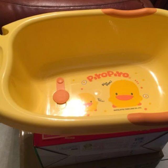 黃色小鴨 沐浴 澡盆 另附全新沐浴床