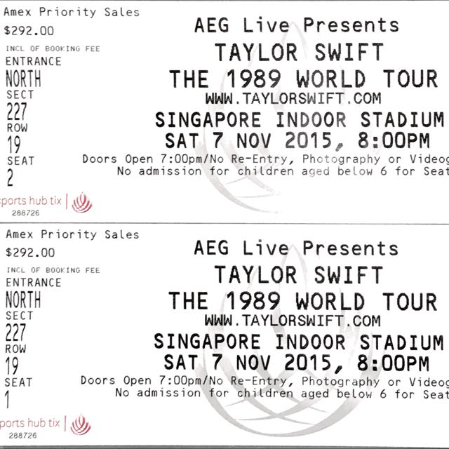 For Bid A Pair Of Tickets For Taylor Swift The 1989 World Tour Saturday 7 November 2015 Entertainment On Carousell