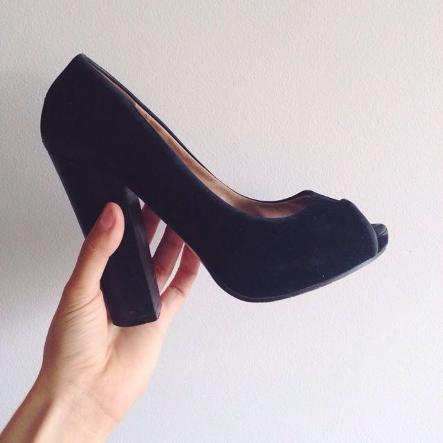 Black Suede Peep Toe Heel ➖ Novo Shoes