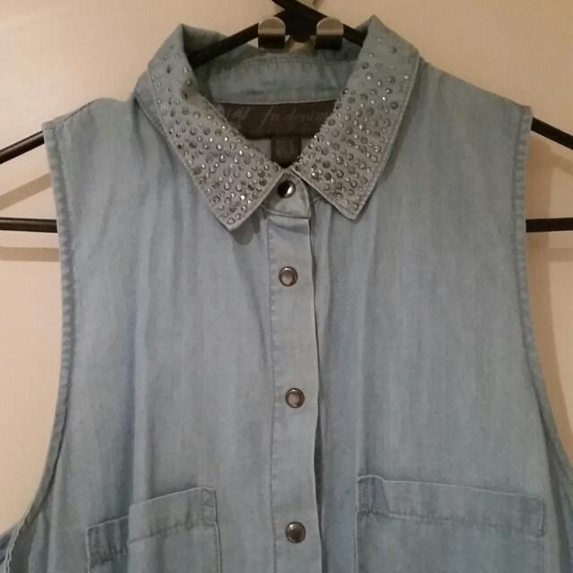Forever New Denim Shirt With Diamond Collar