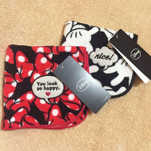 全新日本帶回🇯🇵Francfranc X 迪士尼 Disney 毛巾布手帕 米奇手套 / 米妮蝴蝶結 小方巾 手帕