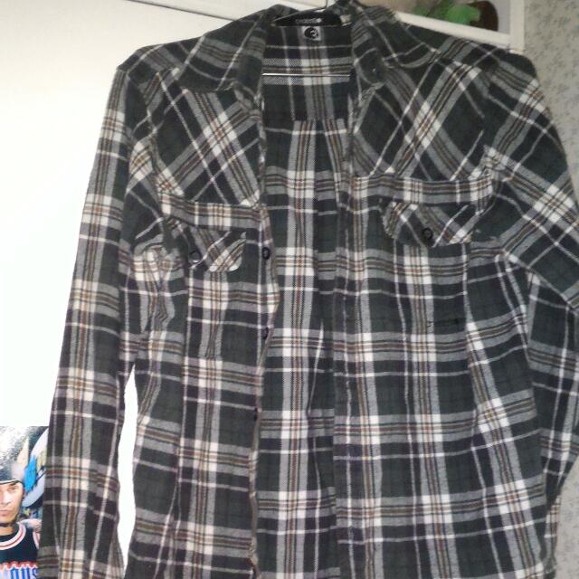 Green, White And Black Flannel Shirt