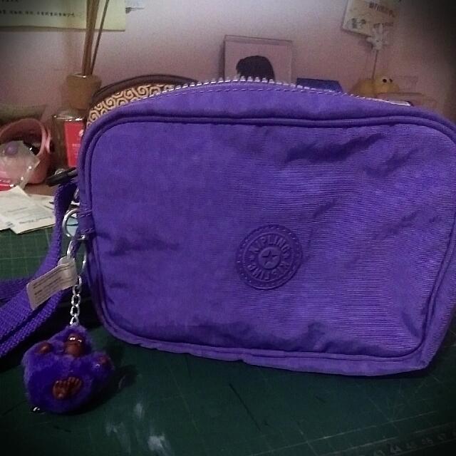 (保留)Kipling🐵淺紫色多層側背包