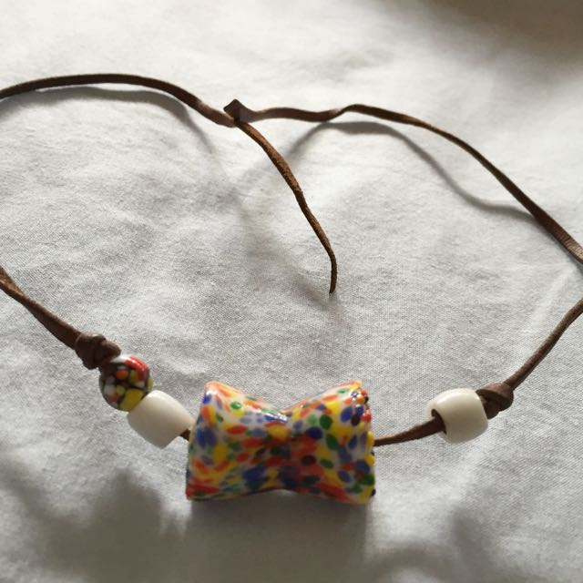 Leather Beaded Necklace Choker