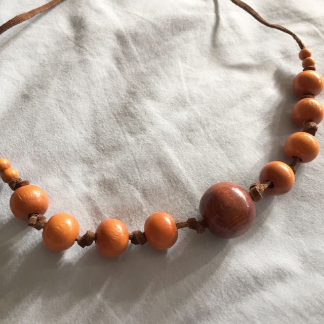 Leather Beaded Tie Up Island Necklace