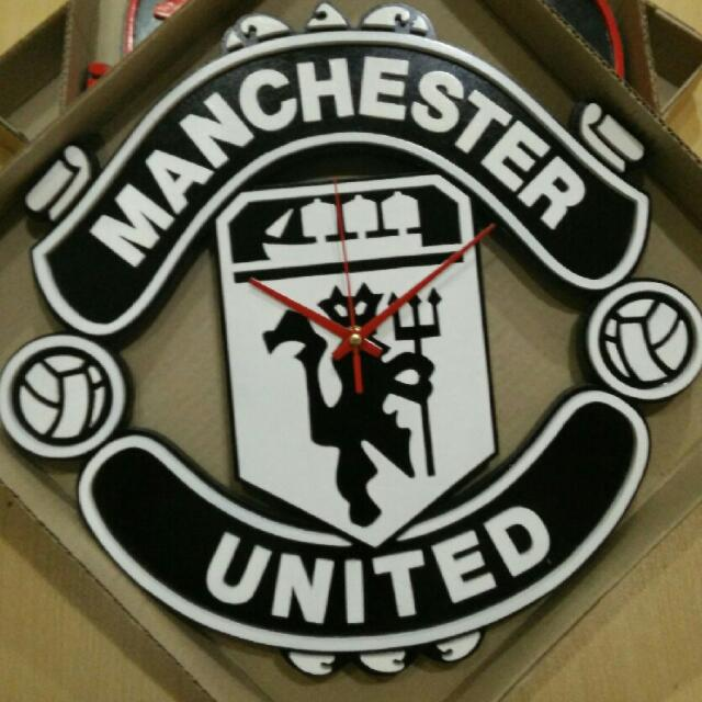 manchester united original crest logo black and white version 3d embosses wooden wall clock design craft on carousell version 3d embosses wooden wall clock