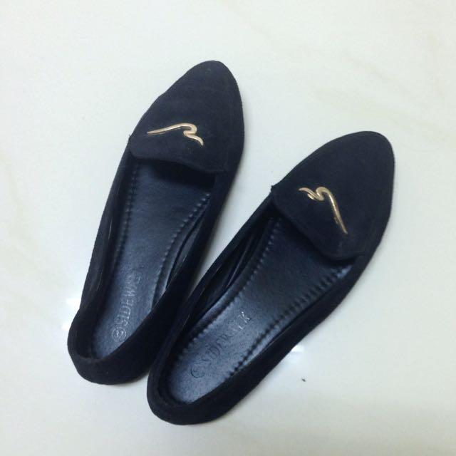 sidewalk黑絨平底鞋