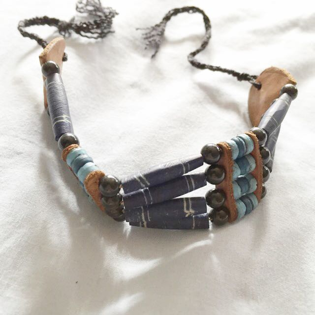 Wooden Beaded And Leather Tie Up Island Bracelet