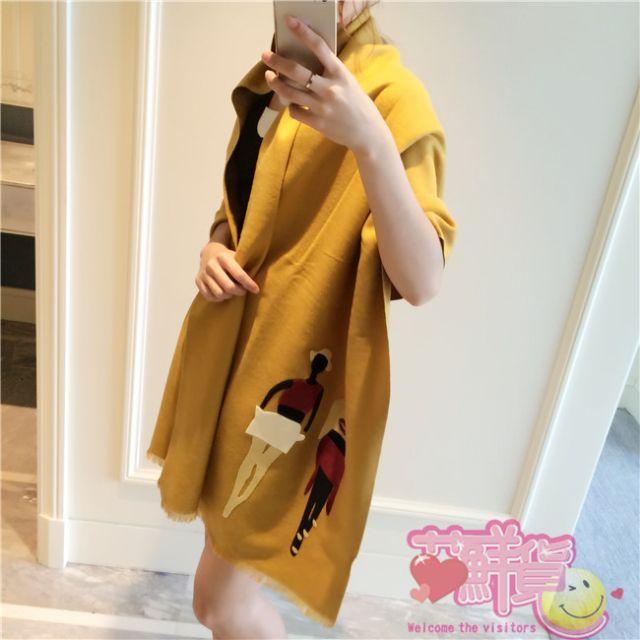 WT022,氣質貼布羊絨圍巾