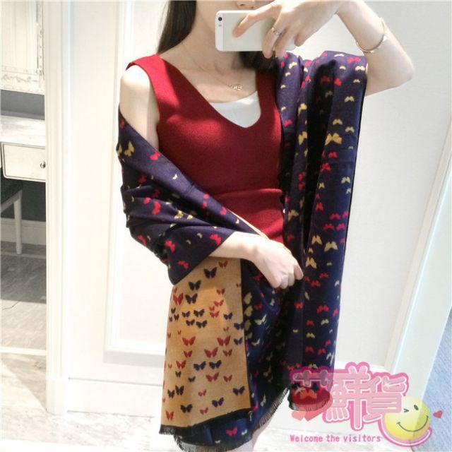 WT027,蝴蝶羊絨圍巾
