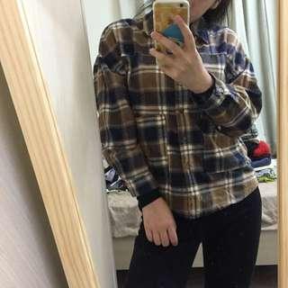 二手👉🏻Queen Shop 褐藍襯衫