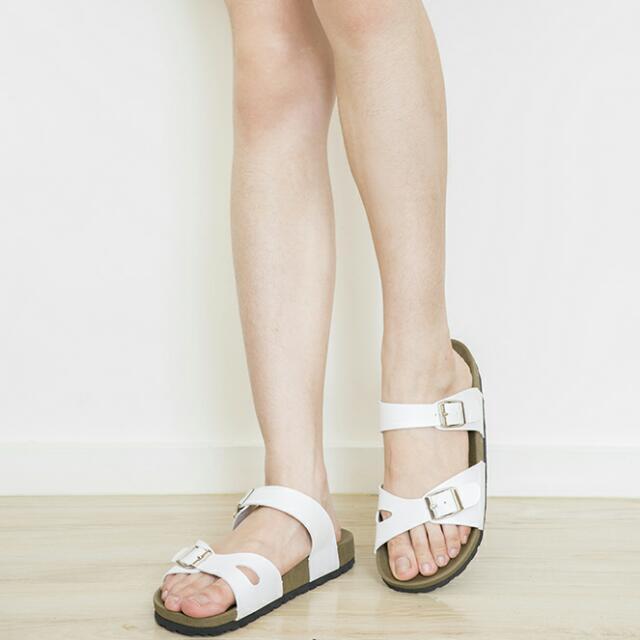05女生白色勃肯拖鞋   懶人鞋