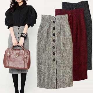 復古 高腰包臀毛料裙 雙排扣即膝裙 現貨+預購