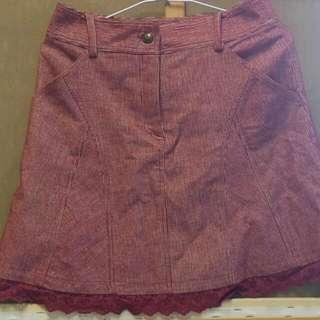 燈芯絨條紋短裙