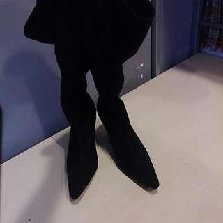 全新絨布 半統高跟靴 37號