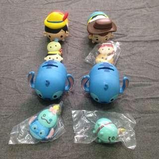 全家tsumtsum迪士尼存錢筒公仔小木偶史迪奇胡迪磁鐵夾子
