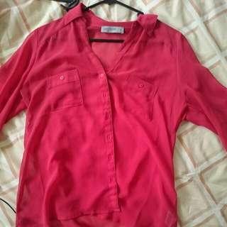 Thin See Through Red Shirt