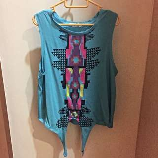 F21 Aztec Print Sleeveless Muscle Tank Top