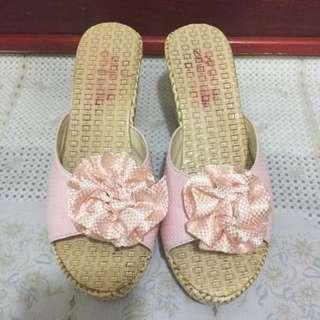 粉蝴蝶結高跟拖鞋💕