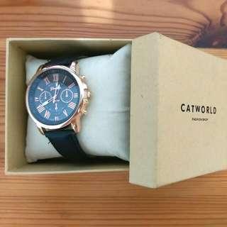 (保留)Catworld羅馬數字金邊皮質手錶