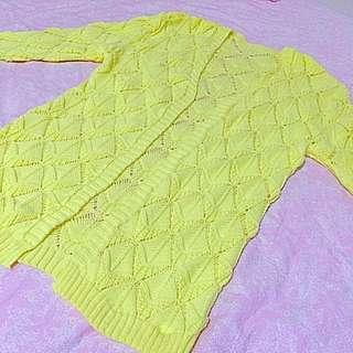 馬卡龍黃 針織罩衫 外套