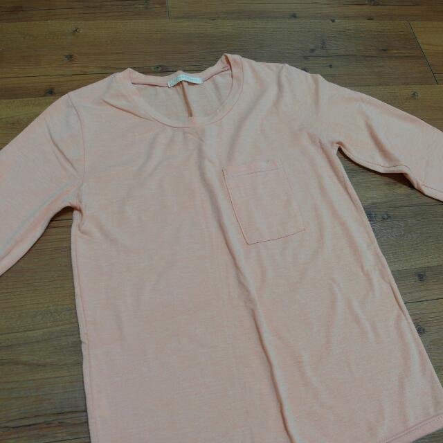 亮橘色棉質上衣