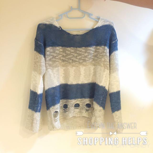 藍白條紋針織衫
