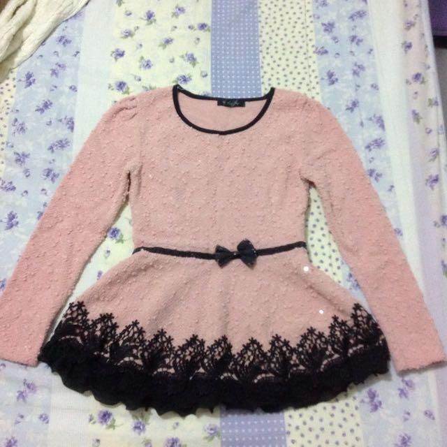 韓國短版粉色洋裝上衣
