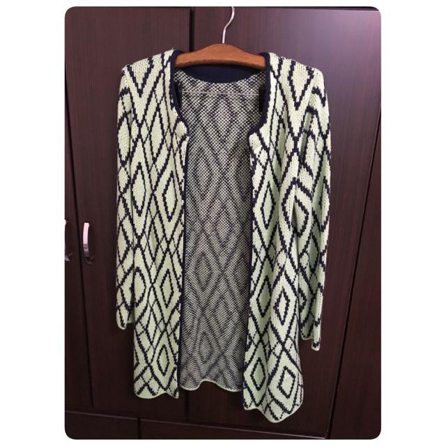 針織幾何菱格長版外套
