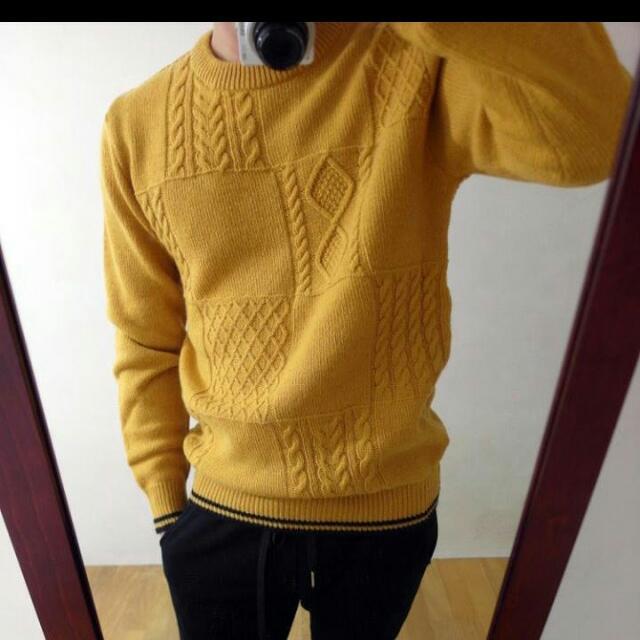 『全新』羅紋針織毛衣(黃)