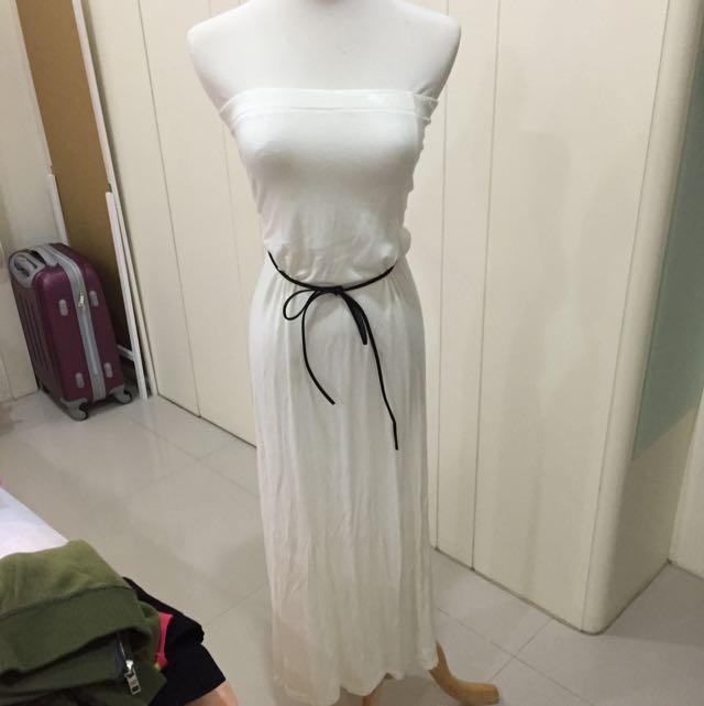 平口全白洋裝