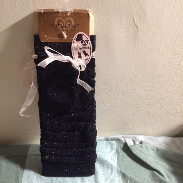 日本襪套 黑色金蔥上有緞帶45cm(全新品)