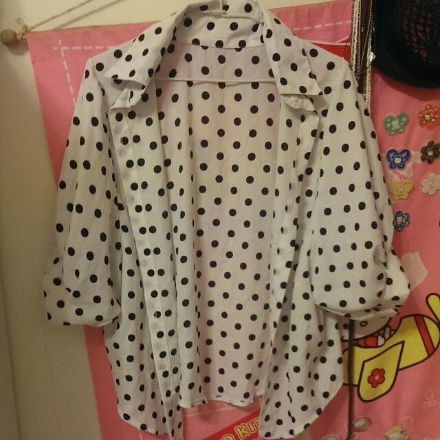 黑白點點寬鬆型罩衫 襯衫 七分袖