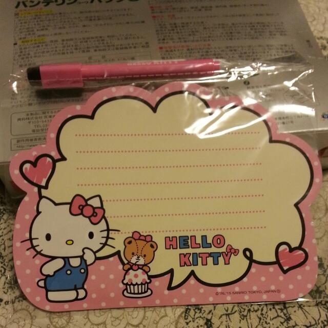 日本帶回 hello kitty  小白板