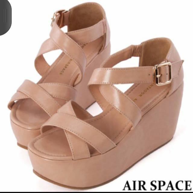 AIR SPACE雙交叉繫踝厚底涼鞋