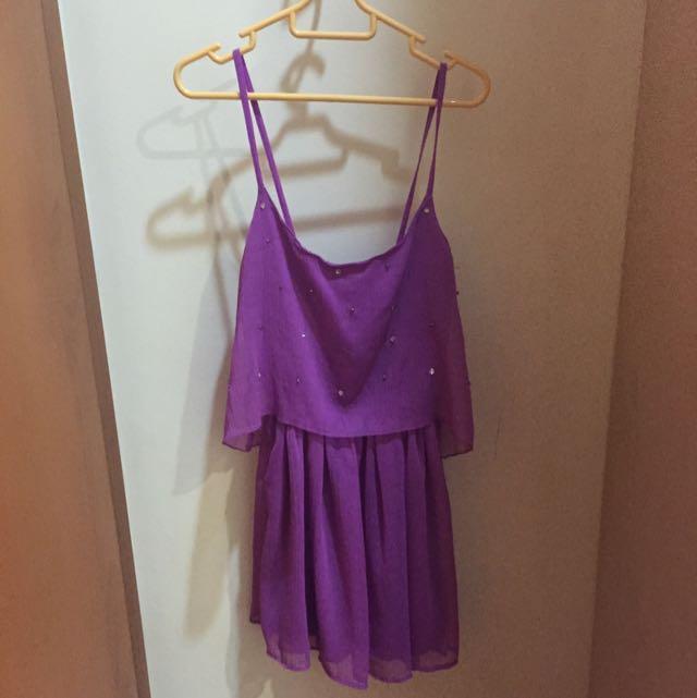 BERSHKA Studded Layered Dress In Magenta