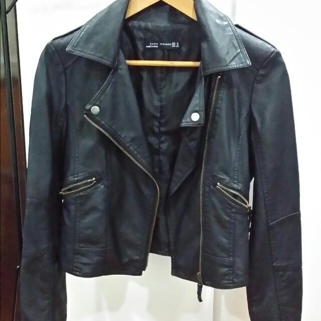 859f05753 Black Biker/Bomber Leather Jacket