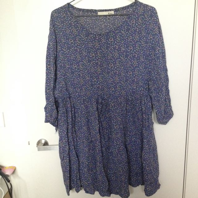 Blue Floral Dress - Free Size