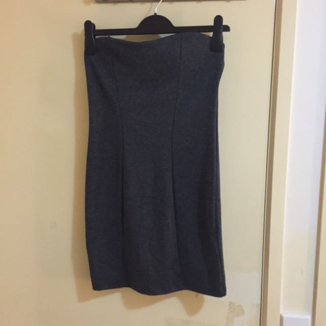 Forever 21 Grey Sleeveless Tube Dress