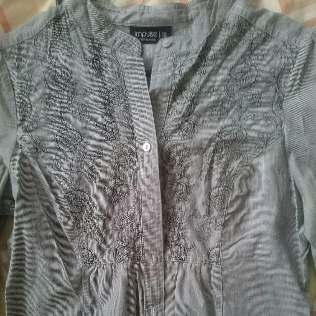 Long Sleeve Stripped Blue Shirt