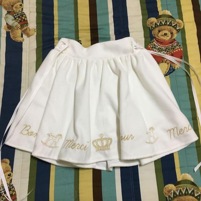 Miaii日系學院風金色刺繡木馬皇冠半裙短裙純白色mussa