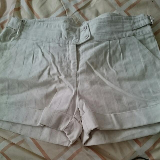 Mink.pink White Strip Shorts