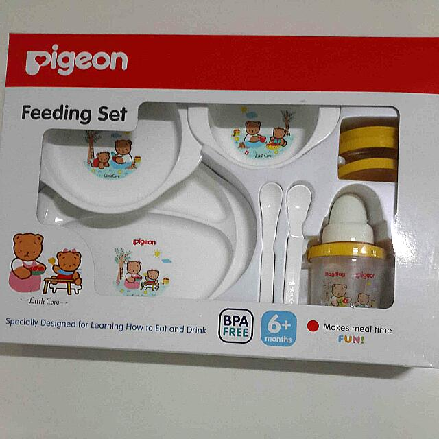 Pigeon Feeding Set (spoons, 2 bowls, plate and training cup) BPA FREE, Babies & Kids on Carousell